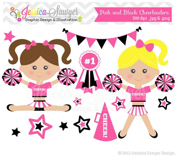 INSTANT DOWNLOAD,  pink cheerleader clip art, cheer clipart, cheerleader graphic for invitations, announcements, design on Etsy, $3.50