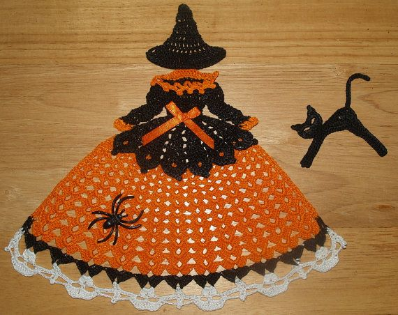 Halloween Witch with Skulls on Dress  Doily Girl  and Cat by vjf25, $3.95 - Halloween witch girl doily and cat pattern. This is for the pattern only, not the finished product. It is worked in black and orange and white size 10 crochet thread.