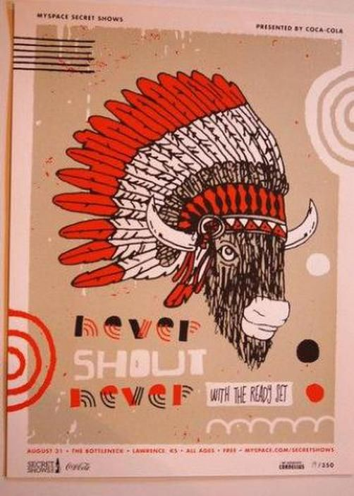 Original silkscreen concert poster for Never Shout Never at The Bottleneck in Lawrence, Kansas in 2010. 18 x 24 inches. Numbered out of 350 posters.