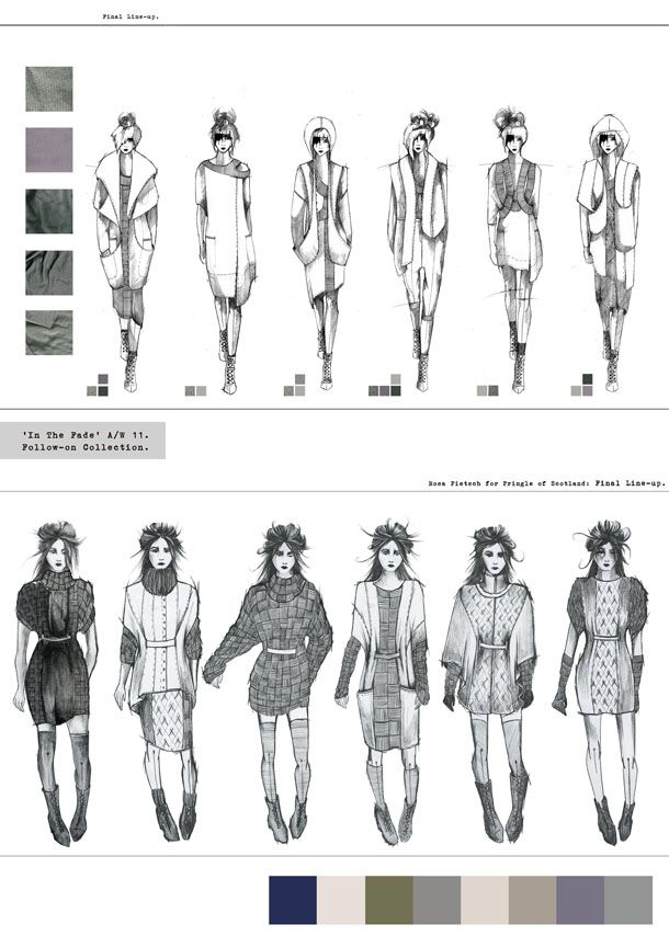 Fashion Sketchbook - fashion design drawings; line up; fashion illustrations; fashion portfolio // Rosa Pietsch