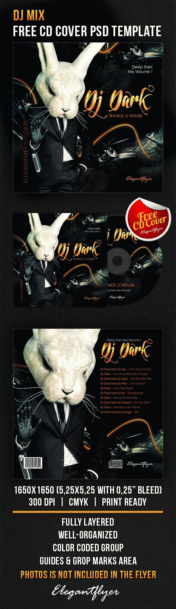 DJ Mix – Free CD Cover PSD Template