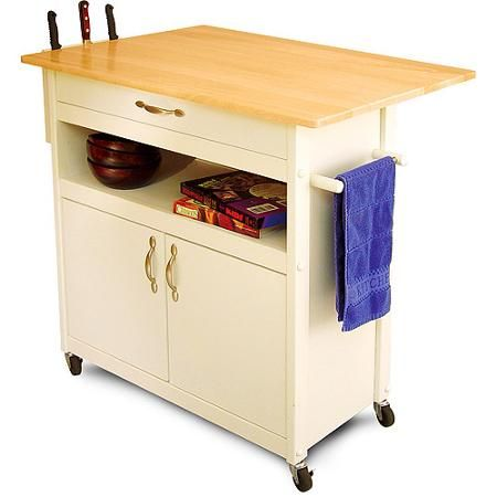 Drop-Leaf Utility Cart, White - Walmart.com