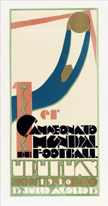 El cartel del primer mundial de fútbol, Uruguay 1930. Guillermo Laborde.