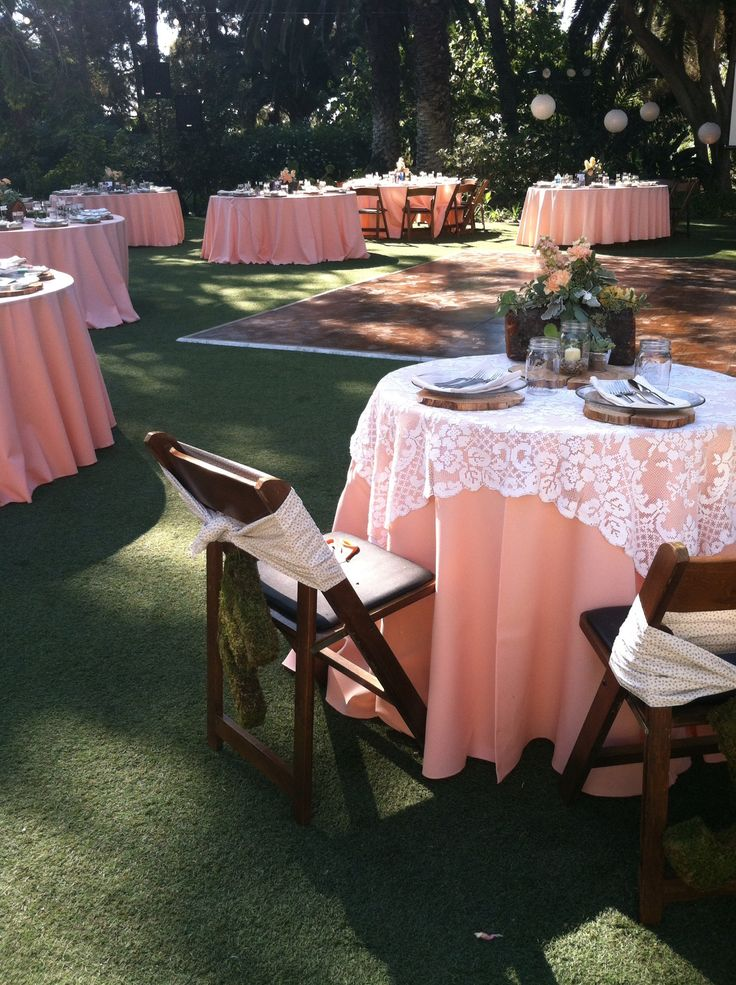 Peach wedding with lace table cloths