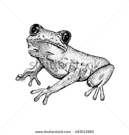 #Sketch of doodle #frog. #pointillism