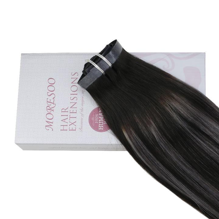 120g PU Clip In Hair Human Hair Black #1B Fading to Silver with Black #1B (#1B/silver/1B