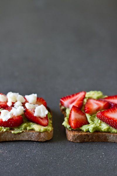 avocado, goat cheese and strawberries...not a recipe but if you like goat cheese-try this! it is a great breakfast option :)