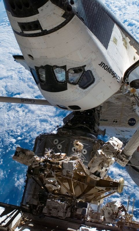 480x800 Wallpaper space, blue planet, earth, iss, shuttle endeavour