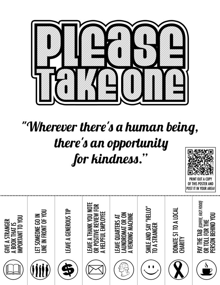 acts of kindness flyer bandw
