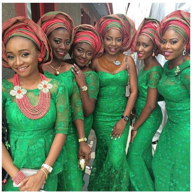 Nigerian wedding green and red ore-iyawo aso-ebi color combination
