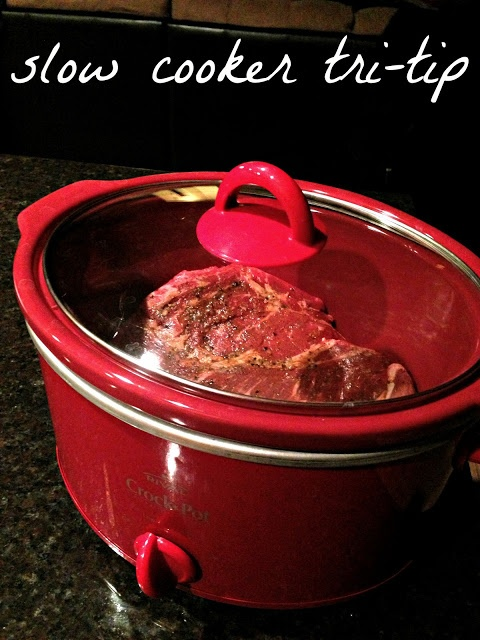 tri-tip marinated crock pot roast- it was good but once the meat was cool, it got really hard even in the juice