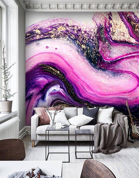 Wallpaperpurple Gold Sparklesremovablerose Marbling Etsy In 2021 Purple Living Room Wall Murals Decor