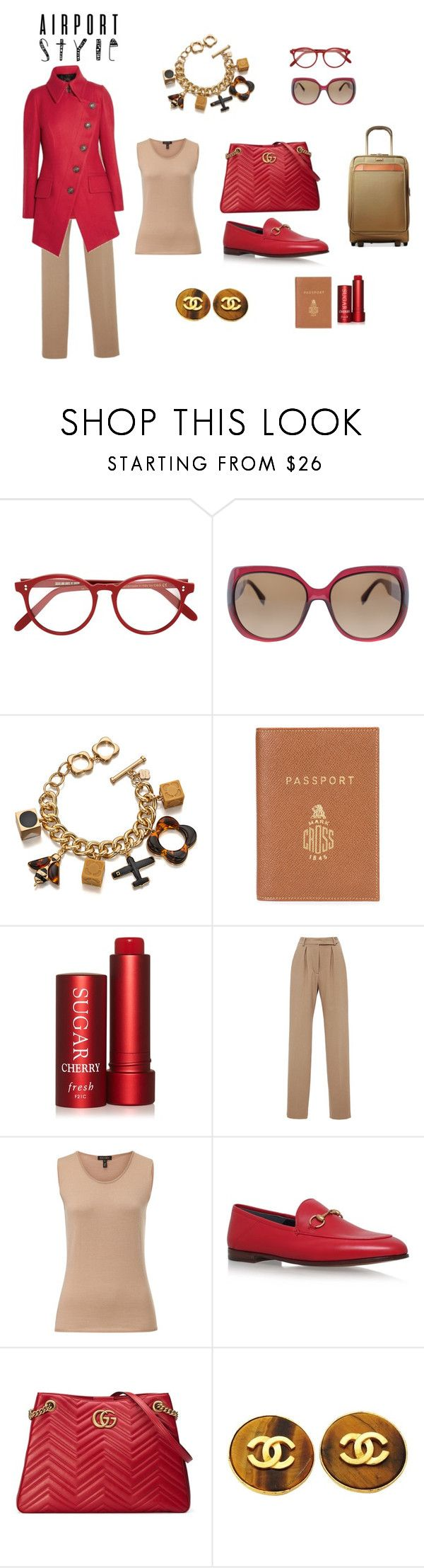 """""""RED-E for the Airport (contest)"""" by scolab ❤ liked on Polyvore featuring Cutler and Gross, Fendi, Orla Kiely, Mark Cross, Fresh, Hensely, ESCADA, Gucci, Chanel and Hartmann"""