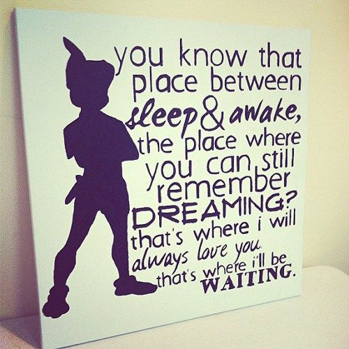 Peter Pan Canvas Painting - 20X20 - J.M Barrie Quote | DearlyLovedBoutique - Painting on ArtFire