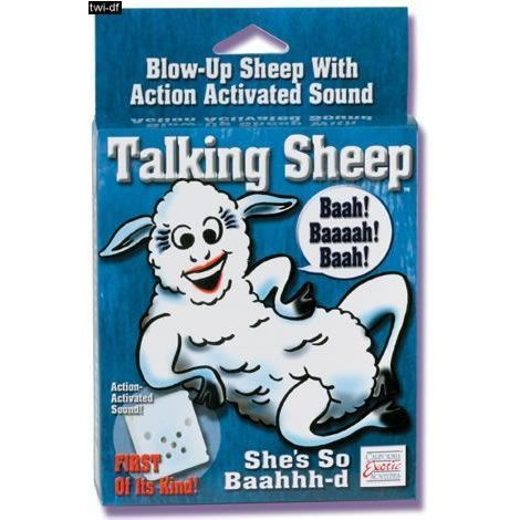 Blow-up sheep with action activated sound. Just when you thought it couldn't get any better.. A lover that talks. Batteries included.