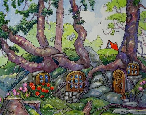 """""""Might be Hobbits But Probably Fairies Storybook Cottage Series""""  © Alida Akers"""