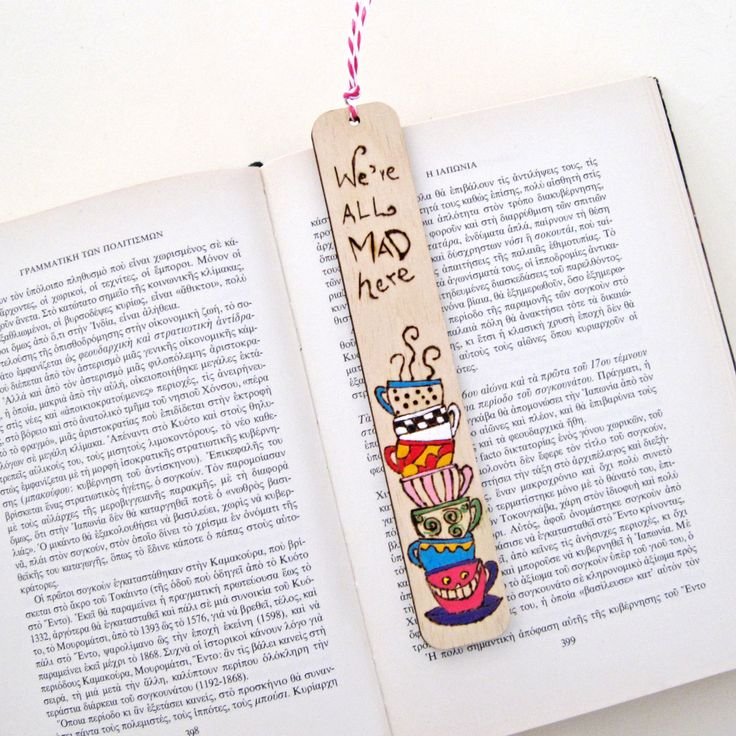 """Bookmark, wood burned bookmark, Pyrography, """"We 're all mad here""""  unique gift for book lovers by DreamBigHandmade on Etsy"""