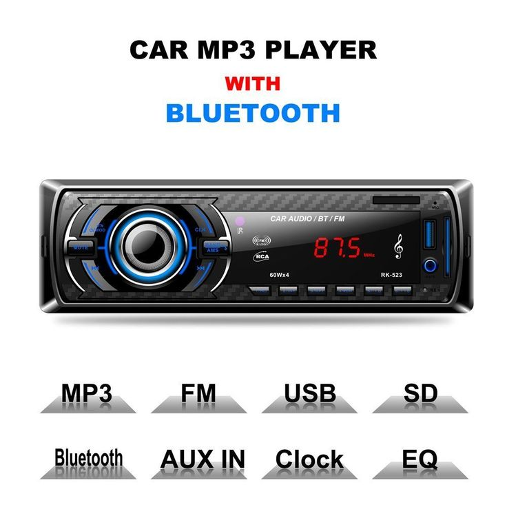 Single Din Mp3 Usb Sd Aux Radio Car Stereo Receiver Audio Am Fm With Bluetooth