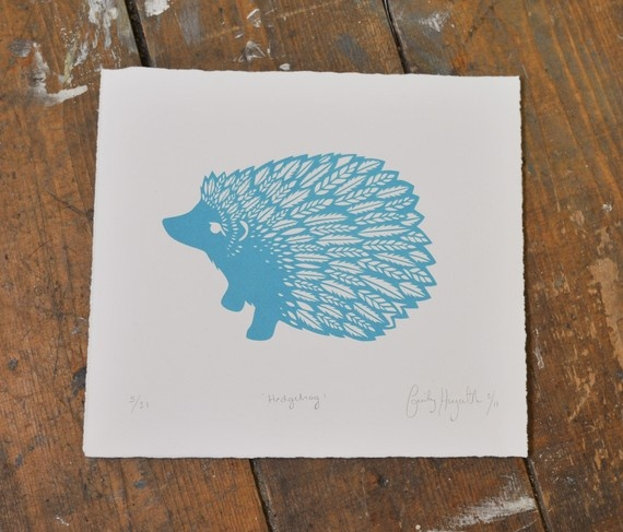 I love this hedggie!    Hedgehog Screenprint    This is a limited edition screen print of 31! All prints are signed and numbered and handmade by myself in Bonnie Edinburgh, Scotland.