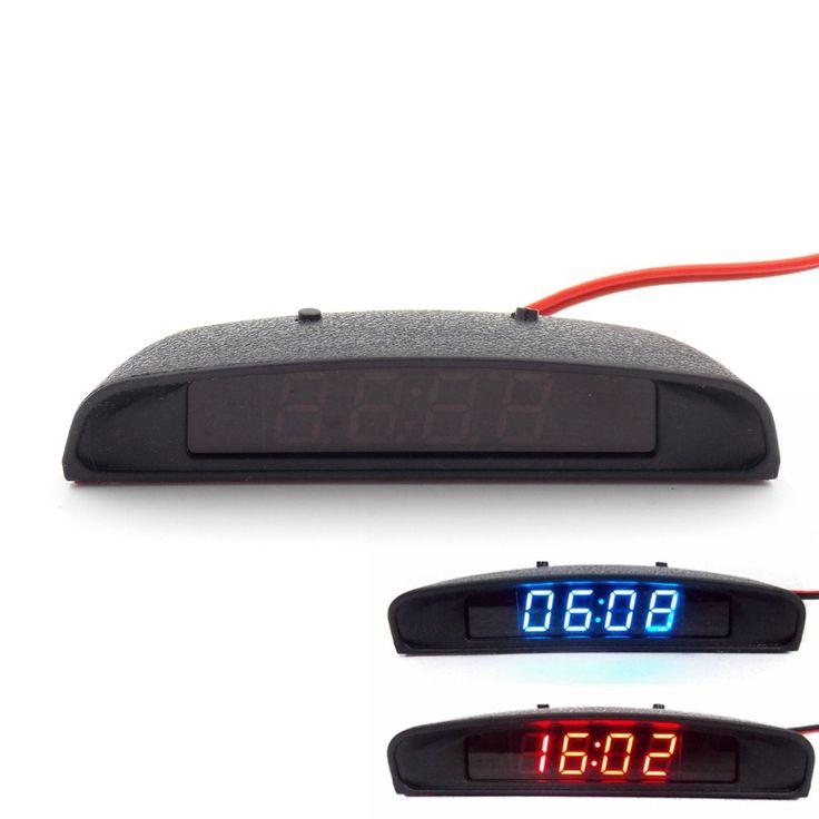 12 V Interior Potong Penampilan Mobil Asli 3 In 1 Jam Mobil Termometer dan Tegangan Monitor (tujuh jenis Mode Tampilan)