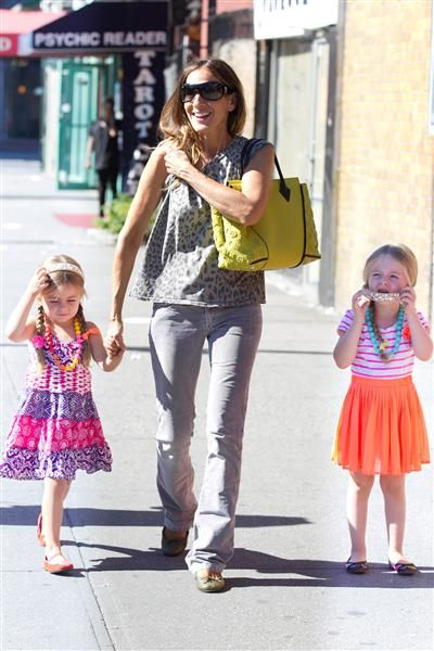 Sarah Jessica Parker is spotted out and about with her twin daughters in New York on Sept. 4, 2013.