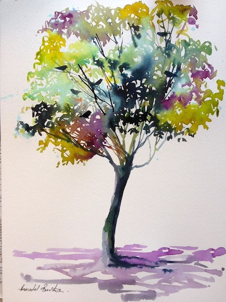 Original Watercolour Landscape Painting- Tree with Birds- by Annabel Burton