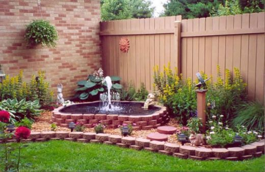 I would choose different flowers nd stones, BUT I love the layout and size of fountain/ pond....Garden Fountains