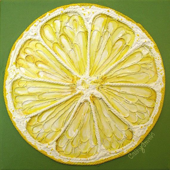 Lemon slice - Textured Original Painting - Constructed in String and Painted in Acrylics