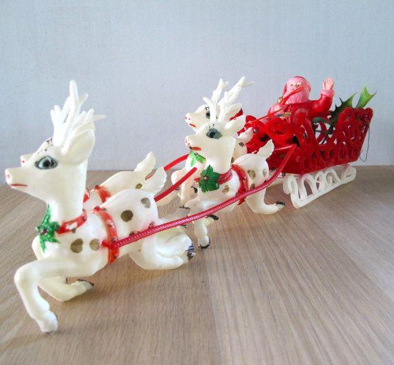 Vintage Santa and Reindeer Sleigh Plastic by vintagebeachkids