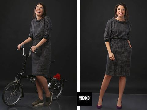 On the bike, or at the office | Flat shoes or high heels | Same dress YOKKO | fall 16  #dress #bike #day #casual #yokko #style #fall16 #new #collection