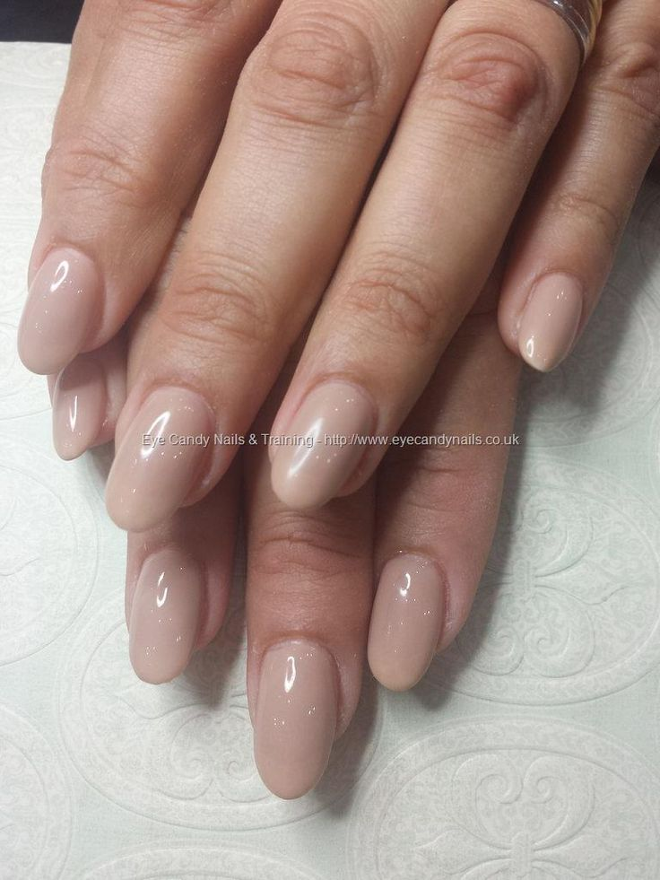 Buff nude gel polish over acrylic nails