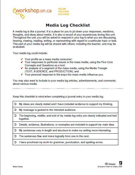 e-Workshops Media Log Checklist