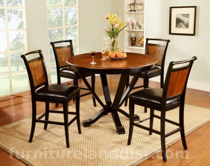 Platia Pub Round Counter Height Table And 4 Chairs Inlay Cherry Top With Black Seats