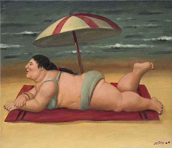 Botero .   She is so beautiful and love the little foot action in the painting