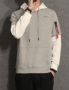 Herren+Kapuzenshirt+Lässig/Alltäglich+Übergröße+Einfach+Einfarbig+Mikro-elastisch+Baumwolle+Elasthan+Lange+Ärmel+Frühling+Herbst+–+EUR+€+16.78