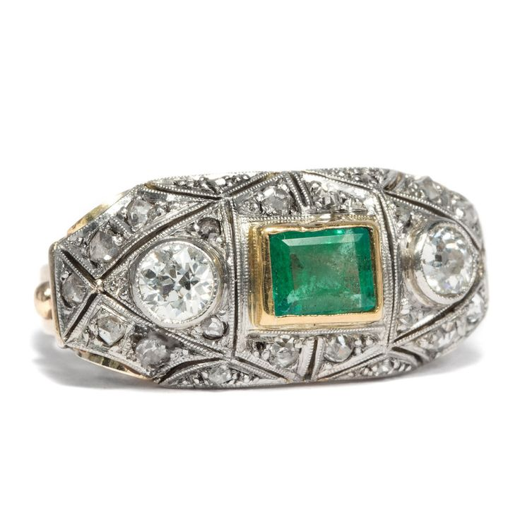 Gold & Platin ART DÉCO DIAMANT & SMARAGD RING um 1930 Emerald Diamond Ring