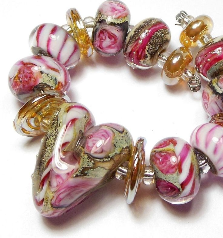 Quinlan Glass Letters to Aphrodite Handmade Lampwork Glass Beads SRA #QuinlanGlass #HandwoundLampworkbeads