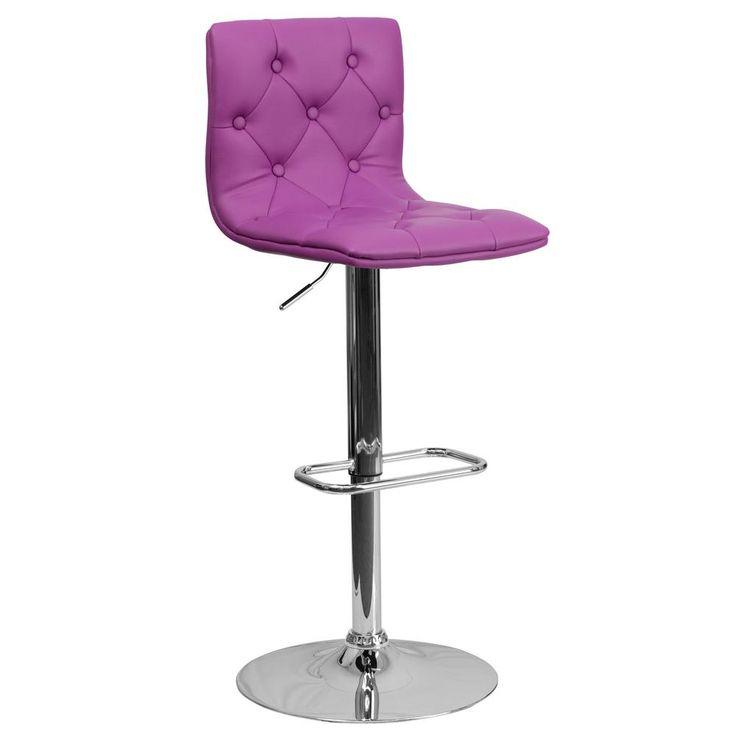 Adjustable Height Purple Cushioned Bar Stool
