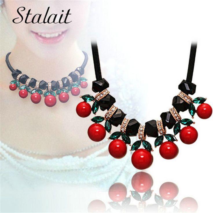 Women Bohemia Red Cherry Round Chokers Statement Necklace Jewelry Accessories Rhinestones Black Stone Necklace