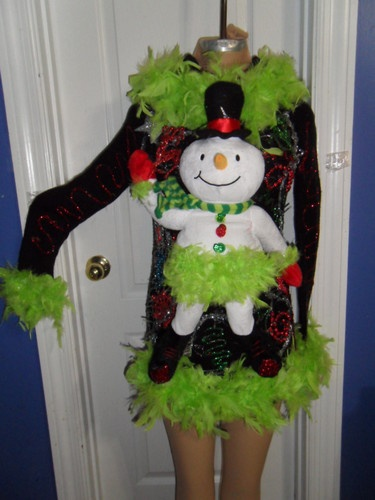 Sexy La Di Da Feather Lighted Snowman Ugly Christmas Party Sweater Glam s M | eBay