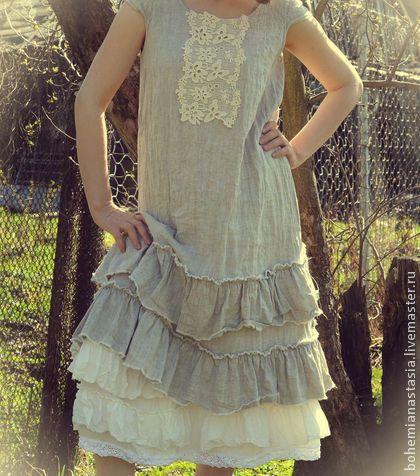 льняное платье с оборками - серый,бохо,платье с оборками,стиль прованс