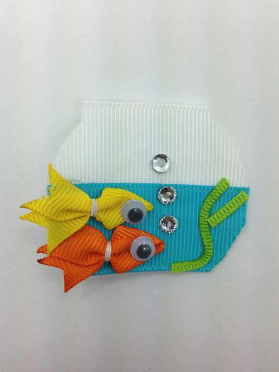 Fish Bowl Hair Clip Ribbon Sculpture by pickinickibows on Etsy, $8.99
