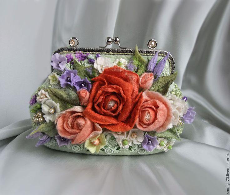 """Купить сумочка """"Весенняя забава"""" - коралловый, мятный, коралловый цветок, коралловые розы, розы"""
