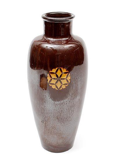 Found on www.botterweg.com - Earthenware vase with in-laid medallion design Chris van der Hoef ca.1905 executed by VH Amstelhoek Amsterdam / the Netherlands