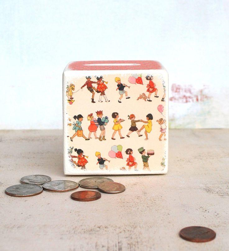 It's A PArty Wood Bank, Money Box, Wood, Money Bank, Children,
