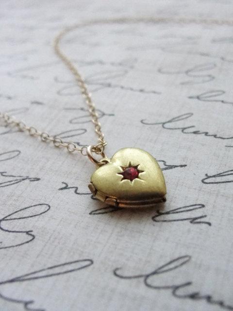 TINY HEART LOCKET WITH RUBY - HEART AND STAR LOCKET WITH RUBY - MOTHERS DAY LOCKET  $48.00: Heart Lockets, Mothers Day, Dainty Jewelry, Ruby, Lockets 4800, Lockets 48 00, Products, Stars Lockets, Tiny Heart
