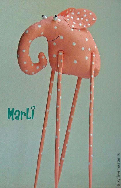 длинноногий слон - интерьерная игрушка,авторская ручная работа,слон,лен