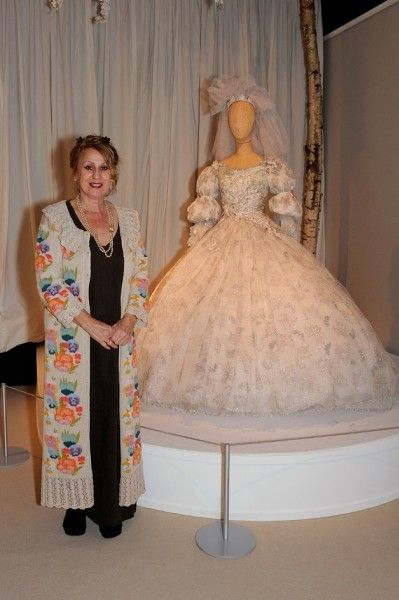When Mandy Smith married Rolling Stone Bill Wyman in 1989, she wore this extravagant silk gown, designed by Louise Hamlin-Wright (pictured) ...