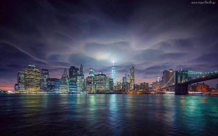 Nowy Jork, Drapacze Chmur, Noc, Most