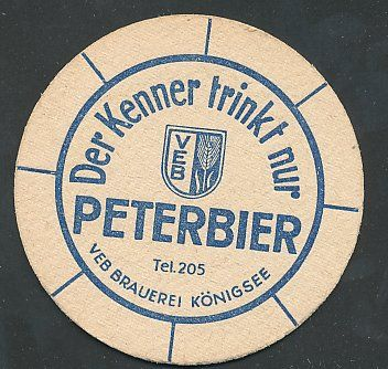"""Bierdeckel """"Der Kenner trinkt nur Peterbier"""", VEB Brauerei Königsee, Logo"""